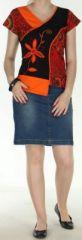 Superbe Tee-Shirt femme ethnique et asymétrique Orange/Noir Eze 272317