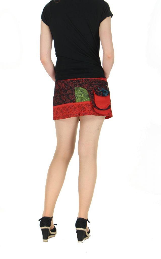 Sur-jupe ethnique monah rouge 261758