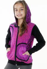 Sweat à capuche et deux poches rose et noir pour fille 287498