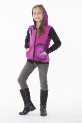 Sweat à capuche et deux poches rose et noir pour fille 287499
