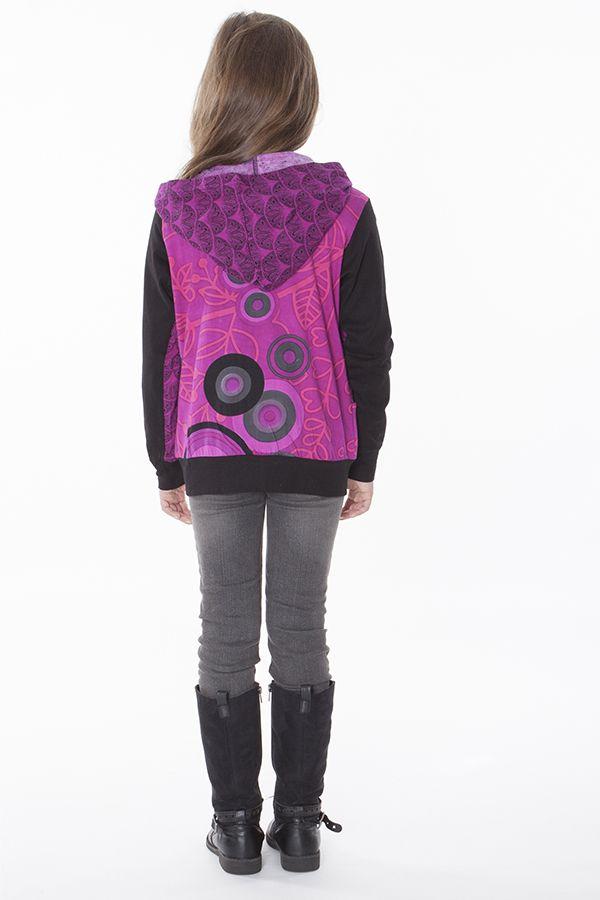 Sweat à capuche et deux poches rose et noir pour fille 287500