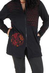Sweat à capuche femme grande taille Noir imprimé et charmant Nouhaila 299090