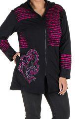 Sweat à capuche femme grande taille Rose effet déchiré et imprimé Lolita 299082