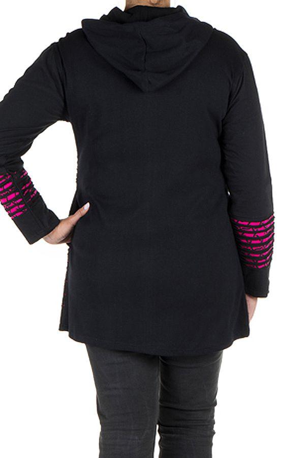 Sweat à capuche femme grande taille Rose effet déchiré et imprimé Lolita 299084