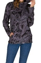 Sweat à capuche femme hivers Noir à imprimés ethniques et originaux Lisa 298617
