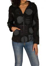 Sweat à capuche femme hivers Noir imprimé et original Adèle 298519