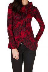 Sweat à capuche femme hivers Rouge imprimé et original Stella 298606