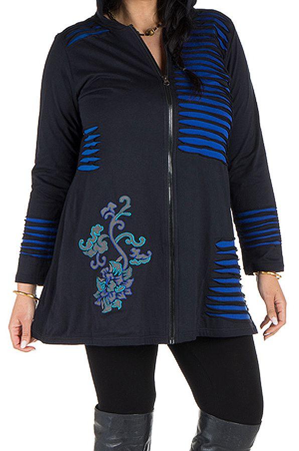 Sweat à capuche hiver grande taille Bleu imprimé et original Giulia 298992