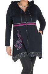 Sweat à capuche hiver grande taille Noir imprimé et coloré Niall 299074