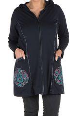 Sweat à capuche hiver grande taille Noir imprimé et original Wendy 299044