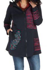 Sweat à capuche hiver grande taille Rouge à imprimés originaux Dina 299004