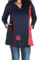 Sweat à capuche hiver grande taille Rouge coloré et ethnique Binta 299032