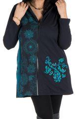 Sweat à capuche hiver grande taille Turquoise à motifs fleuris et tendances Paula 299021