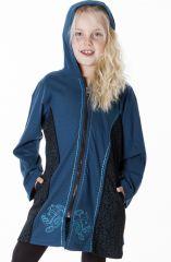 Sweat bleu à capuche avec motifs brodés à la main 287486