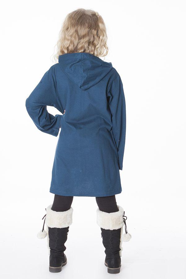 Sweat bleu à capuche avec motifs brodés à la main 287488