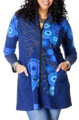 Sweat Bleu en grande taille Ethnique et Imprimé Hudson 287022