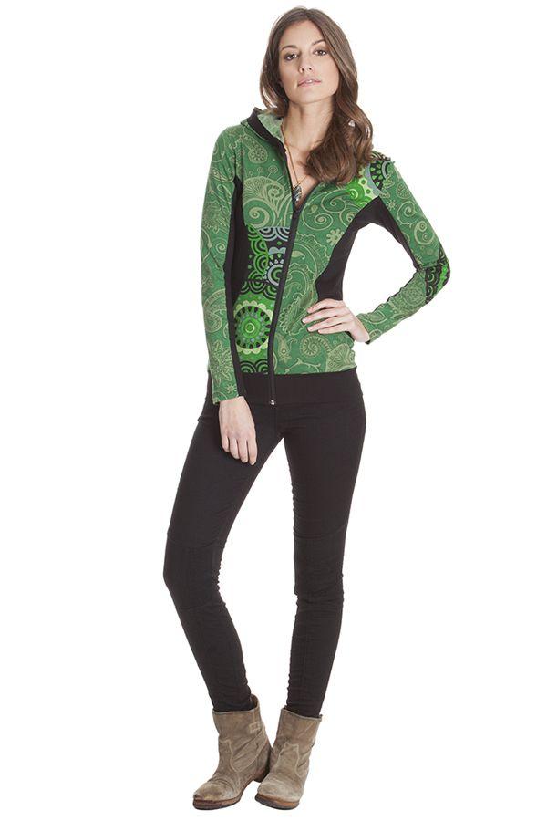Sweat capuche femme court et manches longues Anthéa Vert 285557