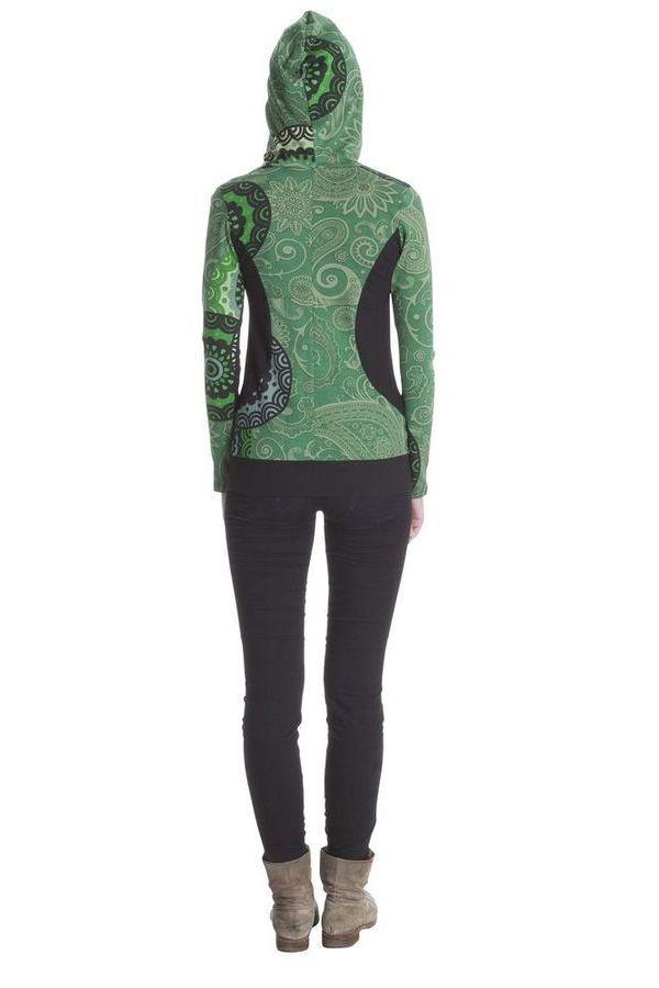 Sweat capuche femme court et manches longues Anthéa Vert 285558