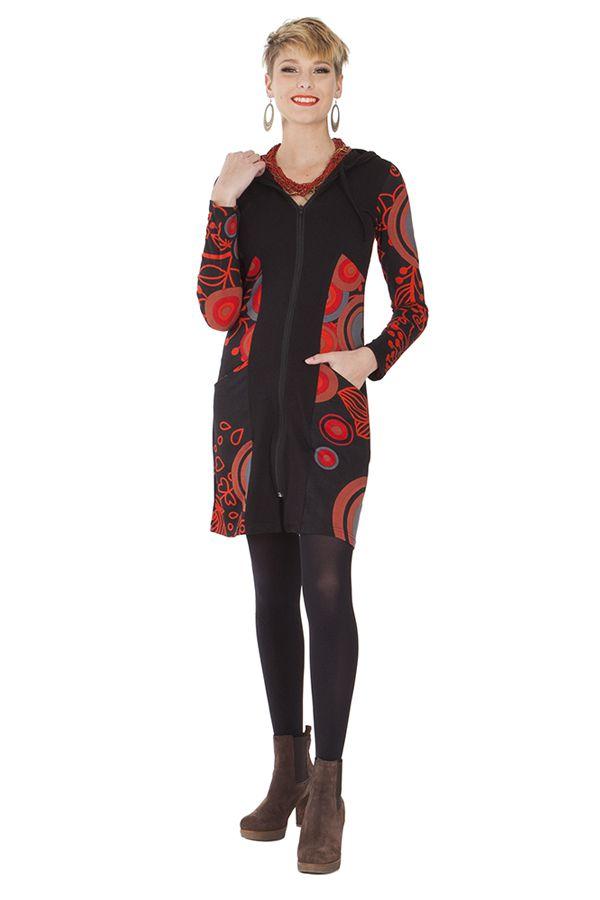 Sweat ethnique long pour femme à capuche noir et rouge Björk 285566