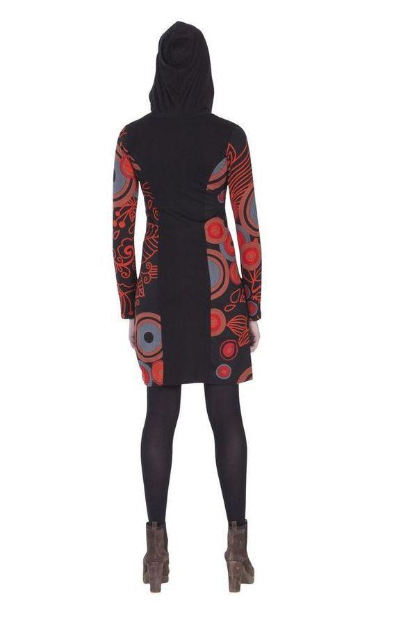 Sweat ethnique long pour femme à capuche noir et rouge Björk 285567