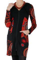 Sweat ethnique long pour femme à capuche noir et rouge Björk 286809