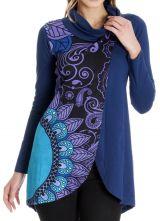 Sweat femme bleu et longue en coupe portefeuille Anémone 286813