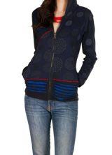 Sweat femme Bleu marine à capuche imprimée et effet griffé Josefa 301342