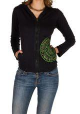 Sweat femme Noir à capuche imprimé et confortable Kinga 301352