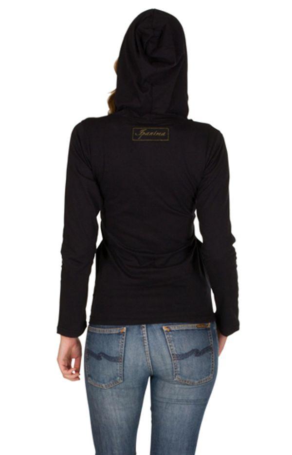 Sweat femme Noir à capuche imprimé et confortable Kinga 301356