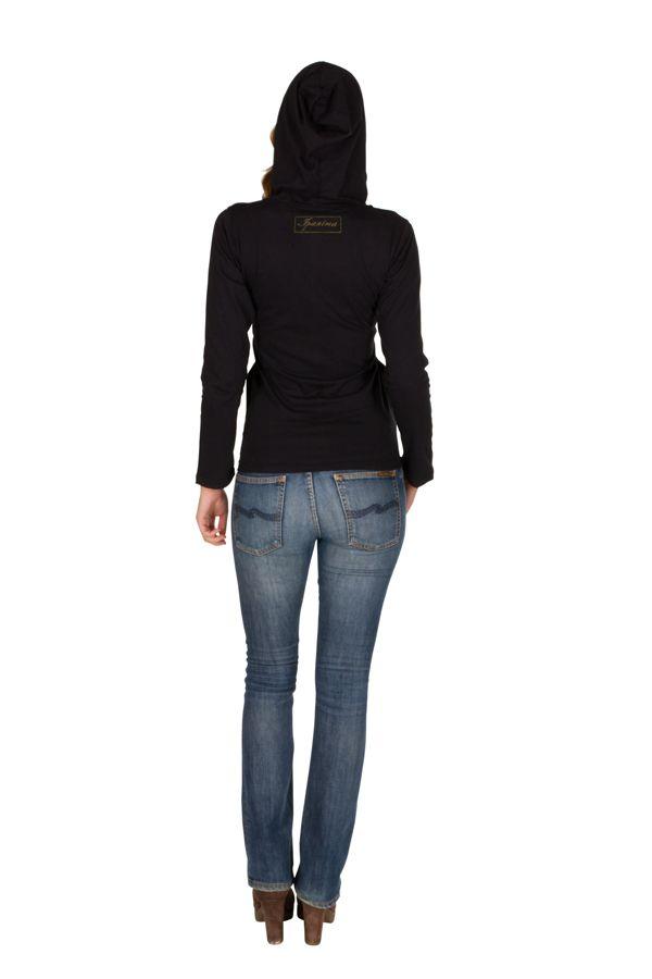 Sweat femme Noir à capuche imprimé et confortable Kinga 301358