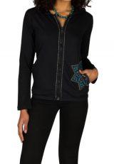 Sweat femme Noir avec broderie original à capuche Lana 301383