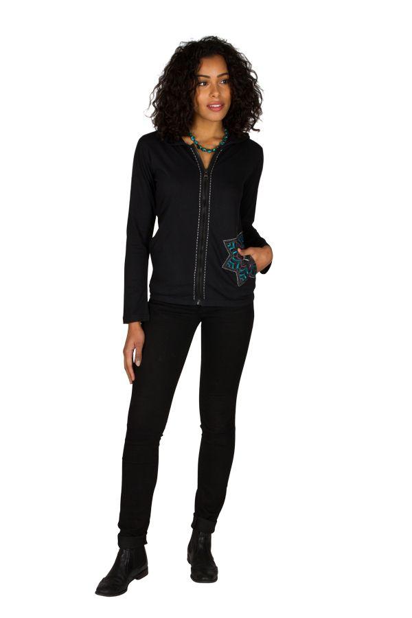 Sweat femme Noir avec broderie original à capuche Lana 301384