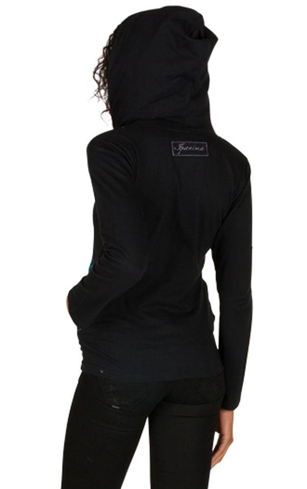 Sweat femme Noir avec broderie original à capuche Lana 301385