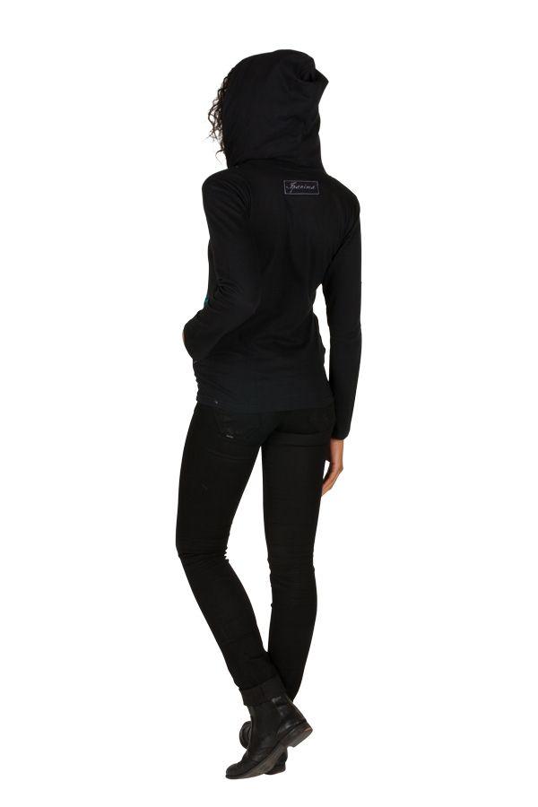 Sweat femme Noir avec broderie original à capuche Lana 301386