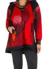 Sweat grande taille à capuche Rouge féminin et imprimé Many 299199