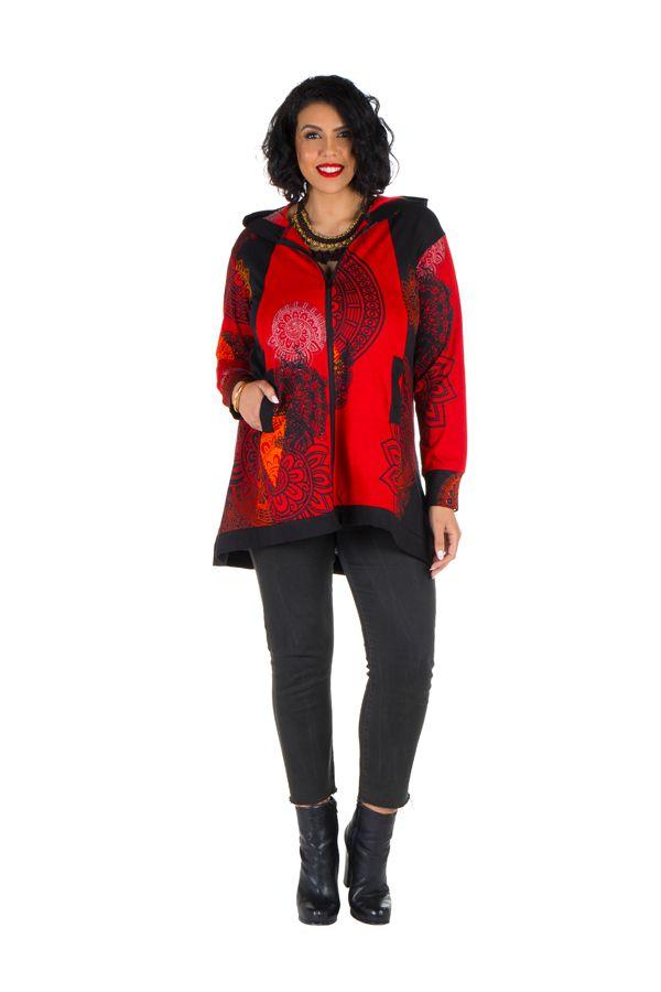 Sweat grande taille à capuche Rouge féminin et imprimé Many 299200