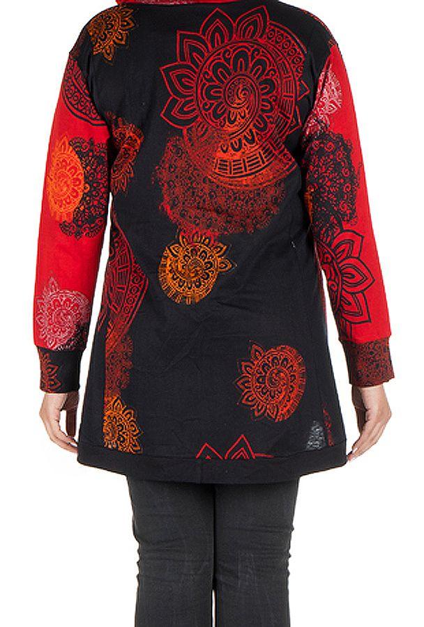 Sweat grande taille à capuche Rouge féminin et imprimé Many 299201