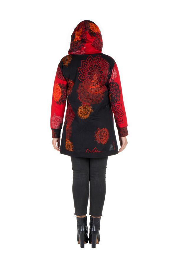 Sweat grande taille à capuche Rouge féminin et imprimé Many 299202