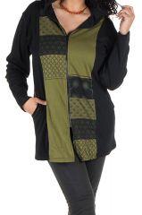 Sweat grande taille femme long à capuche Kaki avec tissu bicolore et imprimés Farah 299145