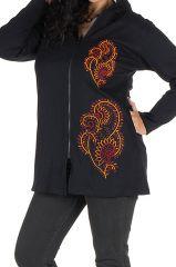 Sweat grande taille femme long à capuche Noir ethnique et original Silma 299116