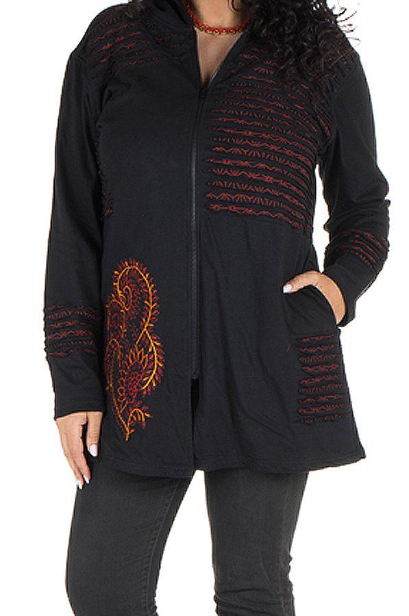 Sweat grande taille femme long à capuche Noir tendance et imprimé Bailla 299102