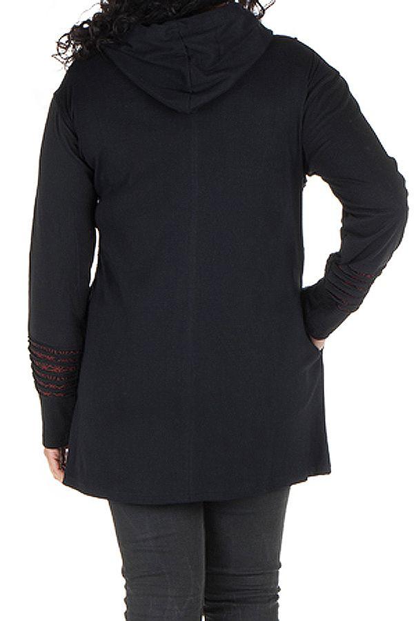 Sweat grande taille femme long à capuche Noir tendance et imprimé Bailla 299104