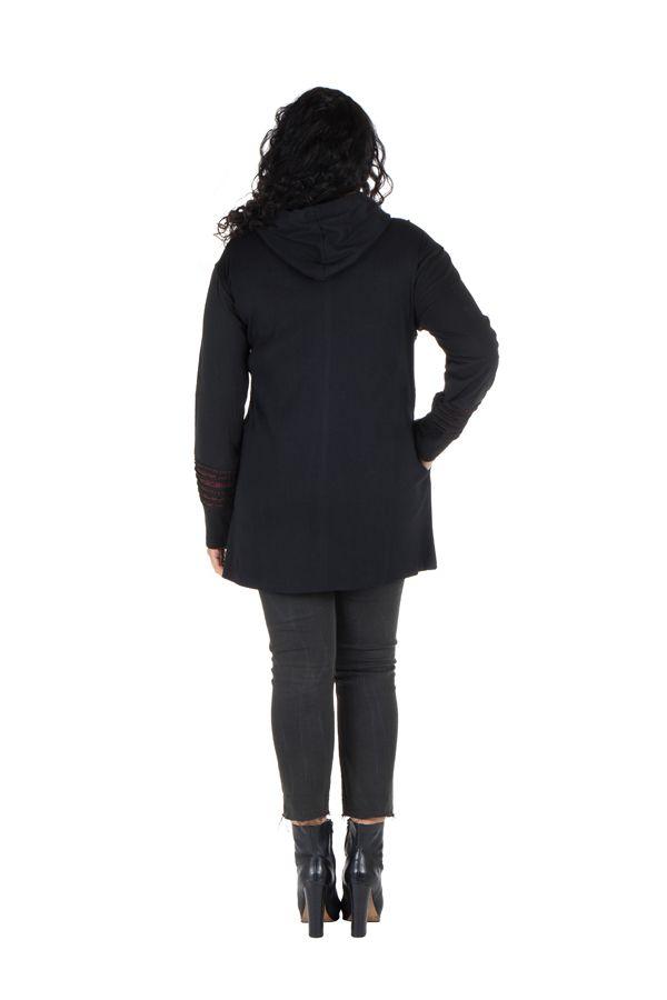 Sweat grande taille femme long à capuche Noir tendance et imprimé Bailla 299105