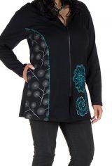 Sweat grande taille femme long à capuche Turquoise imprimé et élégant Maryse 299128
