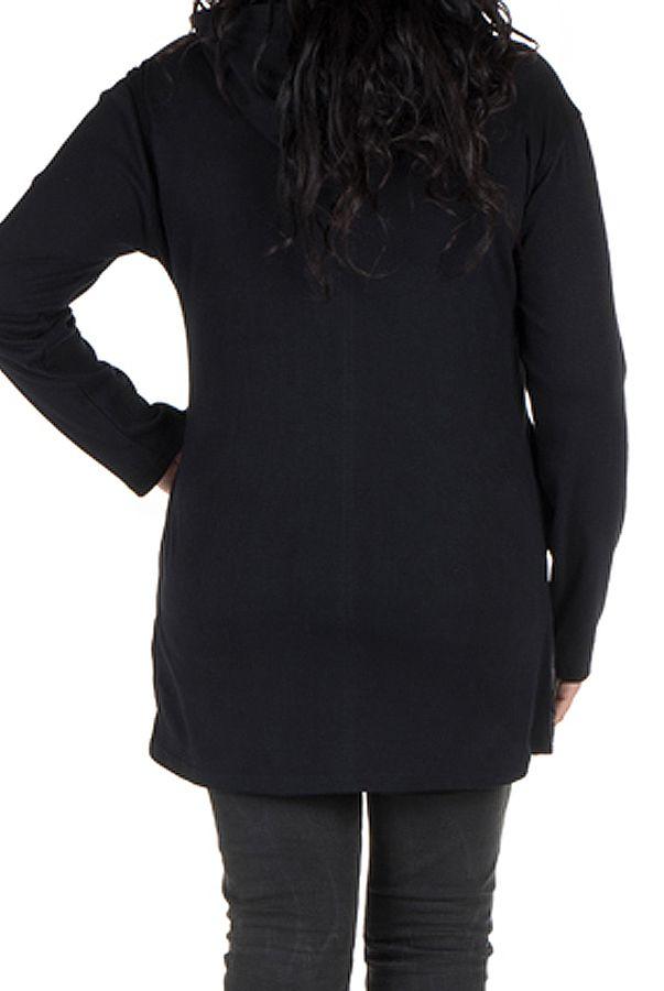 Sweat grande taille femme long à capuche Turquoise imprimé et élégant Maryse 299130