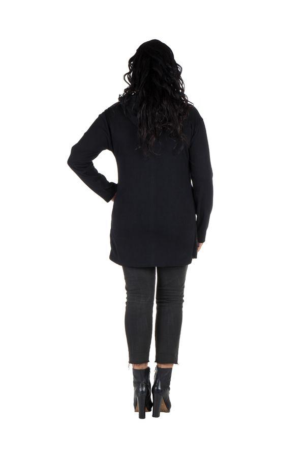 Sweat grande taille femme long à capuche Turquoise imprimé et élégant Maryse