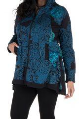 Sweat grande taille long à capuche Bleu avec imprimés ethniques et colorés Kenza 299191