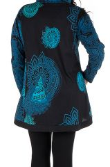 Sweat grande taille long à capuche Bleu avec imprimés ethniques et colorés Kenza 299193