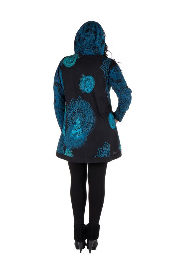 Sweat grande taille long à capuche Bleu avec imprimés ethniques et colorés Kenza