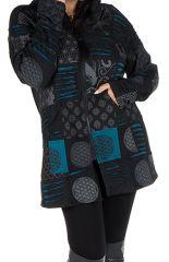 Sweat grande taille long à capuche Bleu tendance avec plusieurs motifs Karen 299183